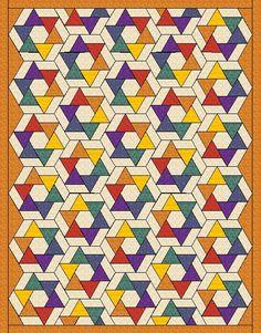 Hexi Pinwheels - Quilt in three size by QuiltFOX, designed by Judit Hajdu 2014