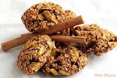 Biscuits pomme banane cannelle {vegan} Biscuits Végétaliens, Vegan Biscuits, Cookies Banane, Vegan Recipes, Vegan Food, Cereal, Veggies, Sweets, Breakfast