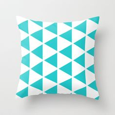 Sleyer Blue on White Pattern Throw Pillow by Stoflab