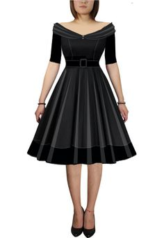 Rockabilly Dress- love the design, except would like the shoulders higher to accommodate straps. Rockabilly Outfits, Rockabilly Pin Up, Rockabilly Fashion, Rockabilly Wedding, Rockabilly Clothing, African Print Fashion, African Fashion Dresses, Vintage Dresses, Vintage Outfits
