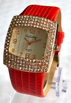 RED Luxurious Crystal Wrist Watch With Leather Band