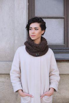 Brown alpaca wool snood | Knitted scarf | Multifunctional scarf | Knitted hat | Loop scarf | Hooded | Designer's scarf | Kotè design by KoteStudio on Etsy