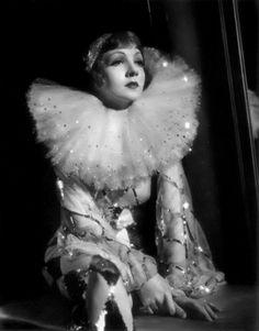Claudette Colbert in Pierrot costume