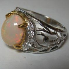 Perhiasan Perak Harga Grosir dan Eceran: Cincin Pria Batu Opal Bergaya Etnis