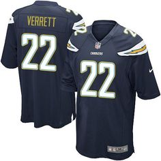 75d697d89 Nike Game Jason Verrett Navy Blue Men s Jersey - Los Angeles Chargers  22  NFL Home