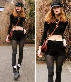 Cosette Munch - Black Vegamössa, Dinosaur Necklace, Crop Top, Second Hand (Ebay) Vintage Pu Bag, Black Denim Shorts, Warm Socks - Anti-Climax