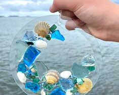 Free Shipping White Frame with Shells and Beach Glass | Etsy Beach Glass Wreath, Sea Glass Beach, Seashell Picture Frames, Beach Ornaments, Barn Wood Frames, Beach House Decor, Suncatchers, Glass Art, Shells