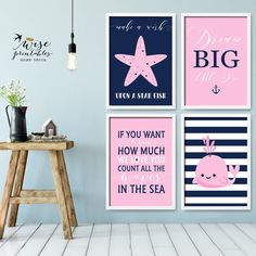 ★ DREAM BIG LITTLE ONE ★ is a cute addition to your kidsroom, nursery or playroom and a great gift for a baby shower for a cute little girl! 4 pink & navy blue posters make a gorgeous and unique accent for the baby room and a lovely gift for a coming home