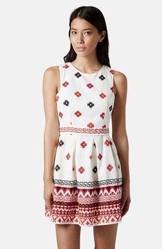 Topshop Print Pompom Trim Fit & Flare Dress | Nordstrom