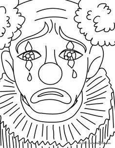 Dibujo para colorear con payaso de rostro de muñeco. | Payasos ...