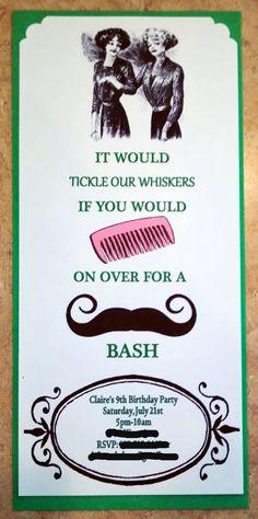 Mustache Birthday Party Invitation