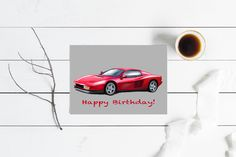 Birthday card, thank you card, anniversary card Great Paintings, Original Paintings, Cards For Boyfriend, Garage Art, Classic Sports Cars, Automotive Art, Custom Cards, Triptych, Large Wall Art