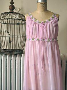 Elizabeth.  Vintage 1960's Lavender Nylon Nightgown with Floral Trim by BobbinsNBombshells