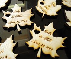 Wood Leaf Wedding Favors Personalized Set of 90 by EtchedinTimeLLC, $54.00