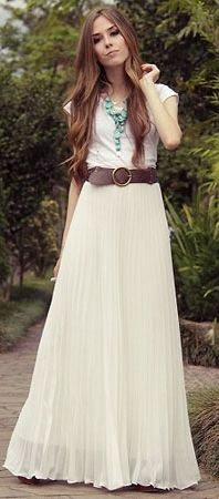 white maxi skirt, brown belt, top and tourquoise necklace, hippie chic