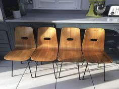 Original vintage Robin Day Q Rod chairs set of 4