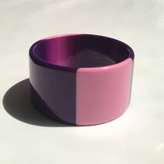 Genuine Lucite Bangle Bracelet in Purple & Pink Circa 1960s from room4more on Ruby Lane
