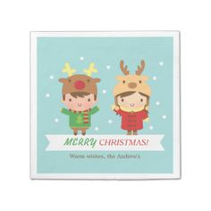 Cute Reindeer Kids Merry Christmas Party Paper Napkin for that Christmas dinner party celebrations! Christmas Treats, Kids Christmas, Merry Christmas, Green Christmas, Christmas Dining Table, Christmas Napkins, Christmas Tree Sweater, Reindeer Hat, Monogrammed Napkins