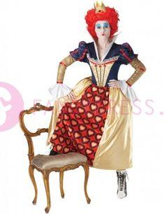 Dit Disney Rode Koningin kostuum bestaat uit:  Een lange goud/blauw/rode jurk en met harten afgedrukt op de rok.  Een krullende rode pruik.  Een gouden kroon.    Maten voor dit kostuum zijn:  Small vrouw maat 36-38  Medium vrouw maat 40-42  Large vrouw maat 42-44