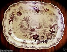 Lavender/purple pre 1842 transfer ware English Staffordshire ceramic platter!!! 21 in long x 17 in wide.  Never seen one in purple color!!! No bottom markings means before 1842 (country of origin required then).