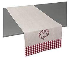 Chemin de table MO coton chambray brodé, beige et rouge - 45*145