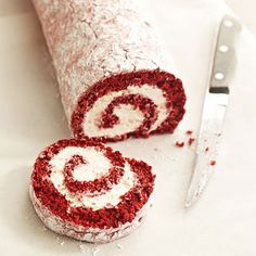 Red Velvet Cake Roll - Decadent enough to be the star dessert, this rich red velvet cake takes only a half-hour of prep time, but no one will know! Frozen whipped dessert topping makes easy work of the sweet, creamy filling. Diabetic Cake Recipes, Cake Roll Recipes, Easy Recipes, Mini Christmas Cakes, Holiday Cakes, Christmas Log, Köstliche Desserts, Delicious Desserts, Dessert Recipes