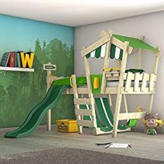 IN STOCK: best prices on Loft bed with slide Wickey CrAzY Hutty - choose between 0 Children's beds Childrens Bed With Slide, Kids Bed With Slide, Childrens Beds, Bedroom Loft, Kids Bedroom, Bedroom Ideas, Weird Beds, Play Beds, Green Bedding