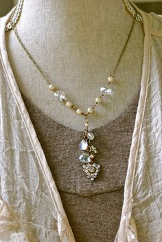 Eve. romantic beaded crystal and pearl drop necklace. Tiedupmemories