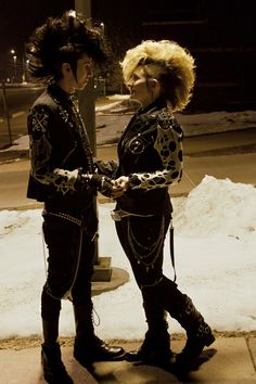 I can see them doing each other's hair. Beautiful. #deathrock #goth