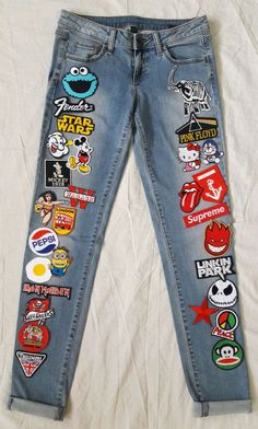 Patched Denim / Hand Reworked Vintage Denim Jeans with Patches / Patch Jeans Women 28 Waist by KodChaPhornJacket465 on Etsy