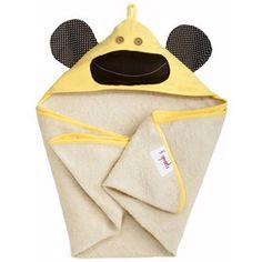 3 Sprouts Hooded Towel - Monkey is useful for the newborns to 18 months age children while bathing or dipping in pool.