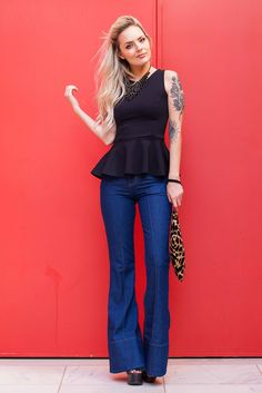 Fashion 2017, Look Fashion, Fashion Outfits, Looks Style, Casual Looks, My Style, Boyfriend Jeans, Flare Jeans Outfit, Outfits Fiesta