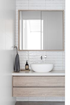 We love using shaving cabinets especially in smaller bathrooms because any extra you can squeeze in is gold. Bathroom Renos, Laundry In Bathroom, Small Bathroom, Bathrooms, Bathroom Ideas, Bathroom Wall, Bali Style Home, Shaving Cabinet, Laundry Design
