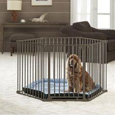 Parque plegable Deluxe con cama para perros - Parque plegable metálico de 6 paneles, ideal para cachorros o para que su perro tenga un espacio donde jugar sin tener acceso a todo el jardin o la casa. Incluye una cama para que el perro descanse.