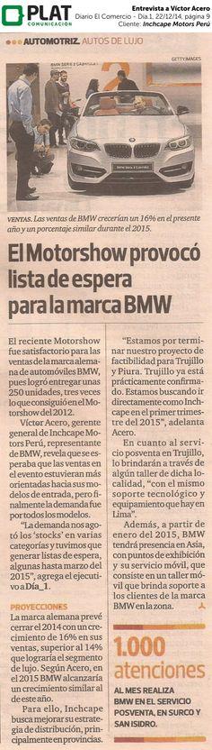 Inchcape Motors: Entrevista a Víctor Acero en el suplemento Día.1 del diario El Comercio de Perú (22/12/14)
