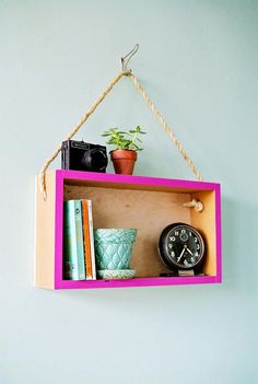 kitchen decor idea DIY hanging box shelf