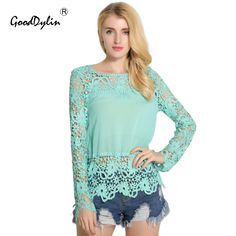 Summer Women Tops Chiffon Blouse Plus Size Shirt Long Sleeve Hollow Out Sexy Lace Blouses Casual Ladies Blusas