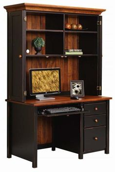 Amish Eshton Single Pedestal Desk with Optional Hutch A handy home office with the beautiful colors of solid wood! Bi fold doors conceal office equipment. Available with or without hutch top.