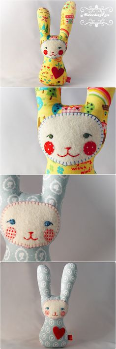 made especially for babys. Her simple and lovely face is easy to realize and sense to babys, her asymmetric ears are haptically appealing and she has a rattle in her tummy