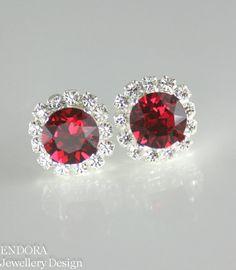 Red earringsRed crystal earringsRuby stud by EndoraJewellery, $30.00