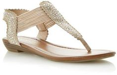 b02e9a26d834 Dune Head over Heels Ladies KNIGHT - NUDE Diamante Toe Post Sandal on  shopstyle.co