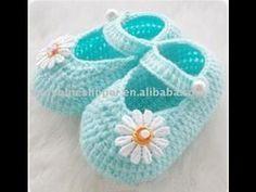 Merceditas para bebé a crochet ( De 3 a 6 meses) - YouTube
