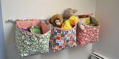 Curtain rod  fabric bins - stuffed animal storage