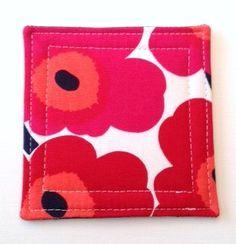 Set of 4  Coasters made w/ MARIMEKKO  Mini Unikko fabric, RED