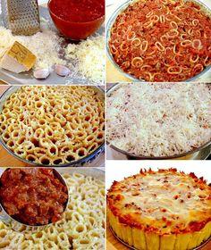 Wie wäre es mit einem Rigatoni-Auflauf? Einfach gekochte Rigatoninudeln (nicht zu weich kochen!) in eine Runde Backform geben und mit ein wenig Parmesan überstreuen. Anschließend die Backform mit Bolognese Soße befüllen, Pizzakäse drauf und ab in den Ofen damit, bis der Käse Goldbraun ist. Guten Hunger! (gefunden auf bevcooks.com)