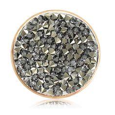 Nikki Lissoni Grey Rock Crystal Coin (medium, gold tone, grey Swarovski® Elements)