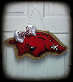 Arkansas Razorback Burlap Door Hanger via Etsy