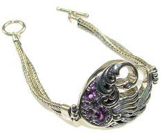 $102.15 Awesome Design!! Purple Amethyst Sterling Silver Bracelet at www.SilverRushStyle.com #bracelet #handmade #jewelry #silver #amethyst