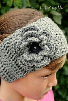 Crochet Head Band or Ear Warmer with Flower by LittleMissyMe, $15.00