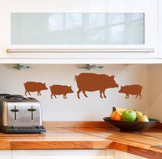 Pig decal decor wall stickers Farm Animal piglets, farmhouse chic decorations, Hogs kitchen art mediterranean decor on Etsy, $15.00